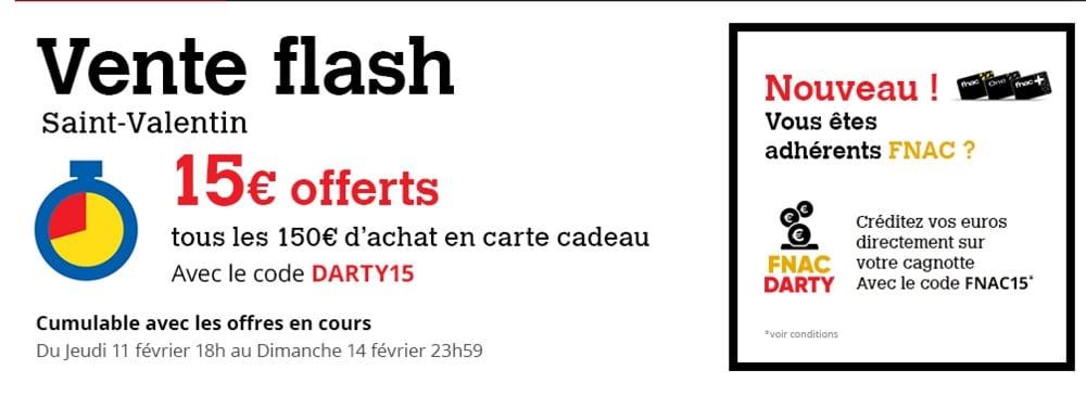 Darty vente flash St-Valentin : 15 € offerts par tranche de 150 € d'achat