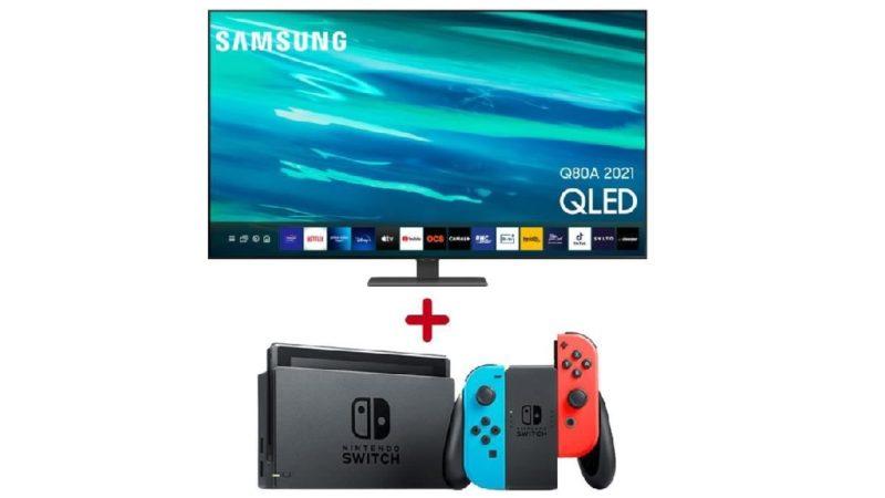 TV QLED Samsung Q80A à 1499,99 € avec la Nintendo Switch offerte